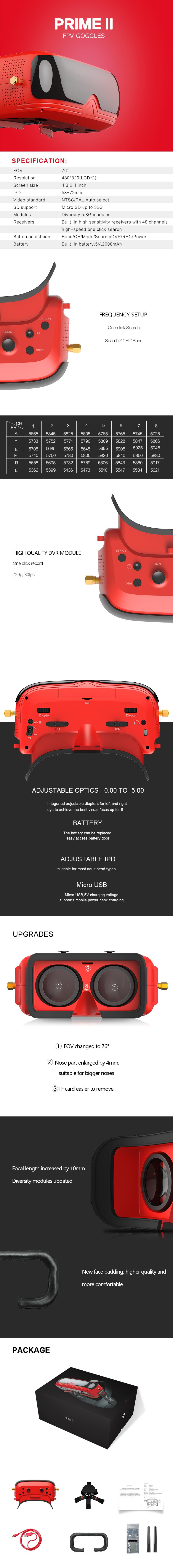 TOPSKY PRIME II FPV Goggles 480*320 Display 58-72mm IPD 5.8Ghz 48CH Diversity RF with DVR Built-in Replaceable 5V 2000mAh Battery for FPV Racing Drone