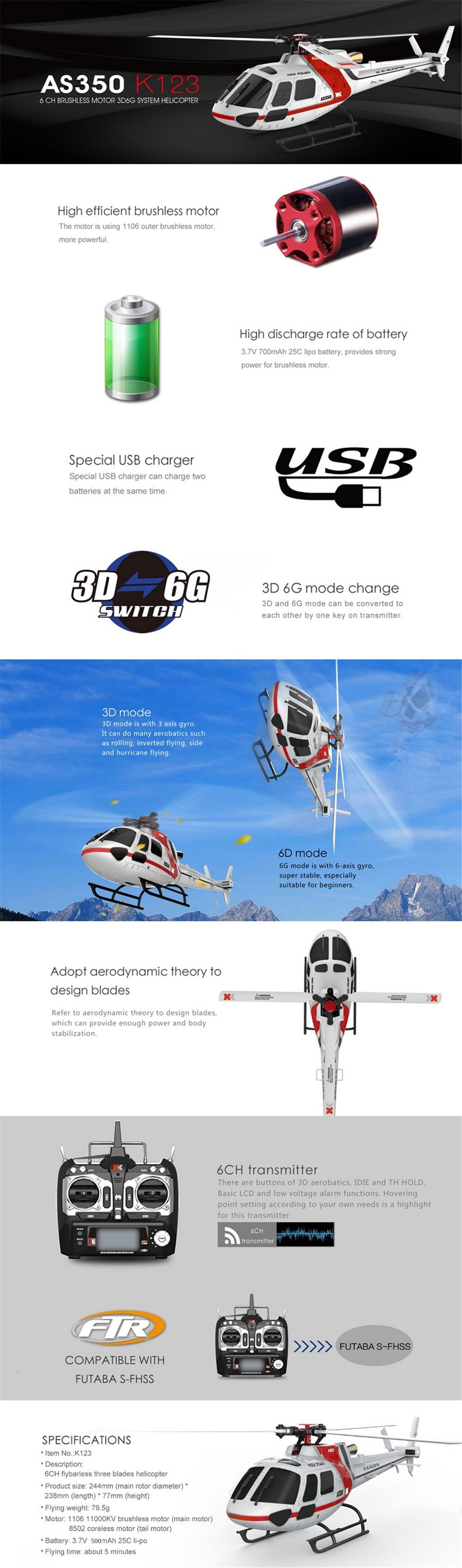 18% OFF for XK K123 6CH Brushless 3D6G System AS350 Scale RC Helicopter Compatible with FUTAB-A S-FHSS 4PCS 3.7V 500MAH Lipo Battery