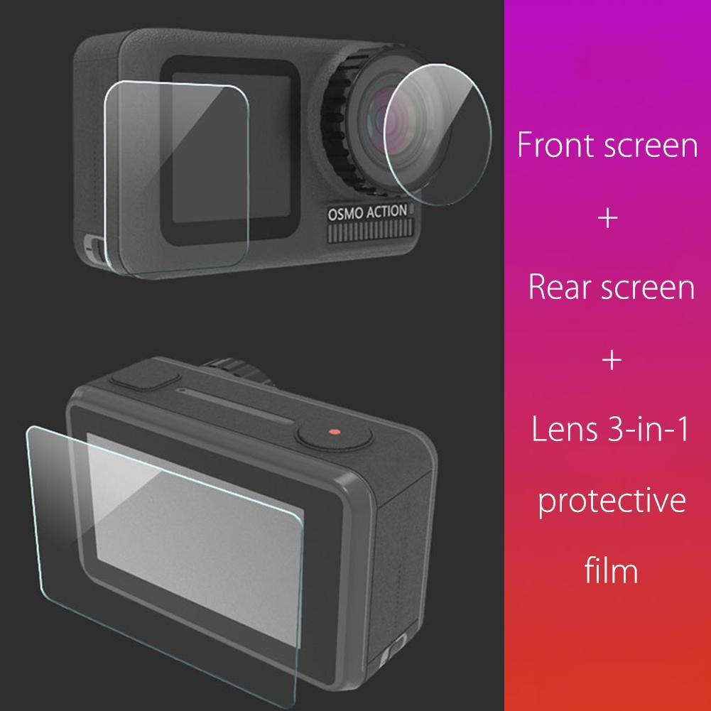2.5D 3 in 1 Anti-Scratch Transparent Tempered Glass Screen Protector Lens Protective Film Sets Clear for DJI OSMO ACTION Camera