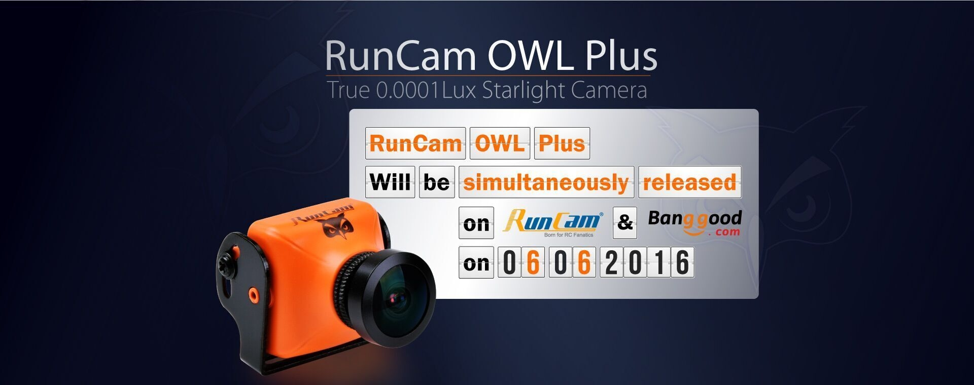 RunCam OWL PLUS 700TVL 0.0001 LUX FPV Camera FOV 150° Wide Angle F2.0 lens IR Blocked 5-22V