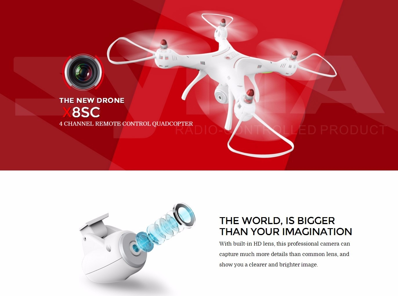 Syma X8SC With 2MP HD Camera 2.4G 4CH 6Axis Altitude Hold Headless Mode RC Quadcopter RTF