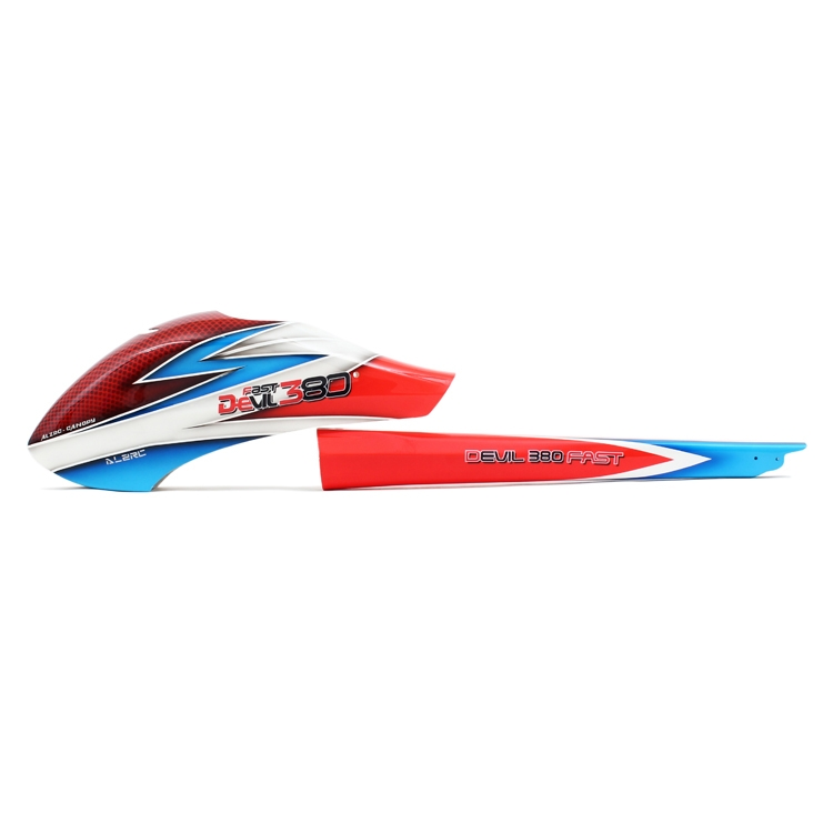 ALZRC - Devil 380 FAST Fiberglass Red Blue Painting Canopy Set For Helicopter