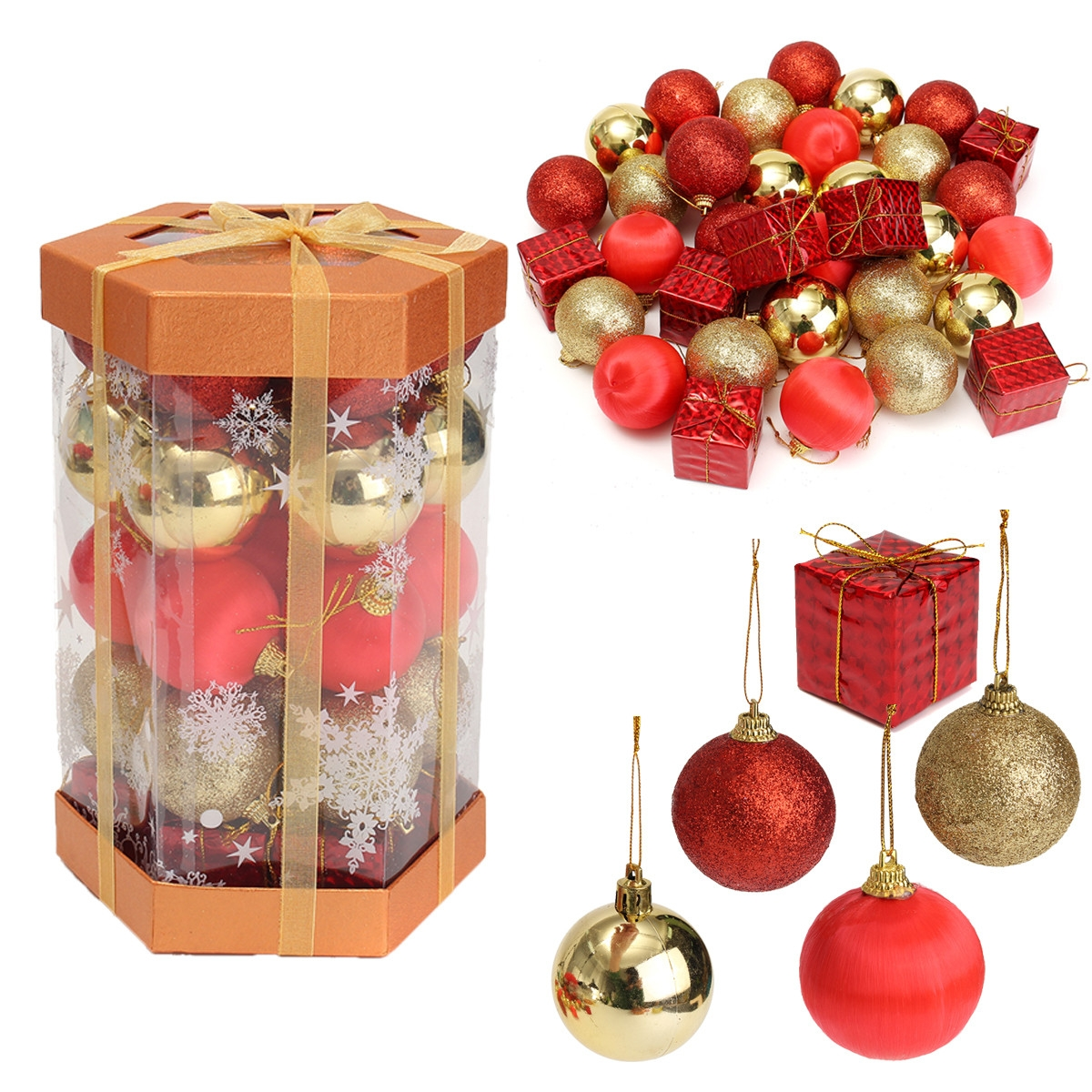 24PCS Glitter Baubles Shatterproof Ball Christmas Tree Decoration Xmas Ornament