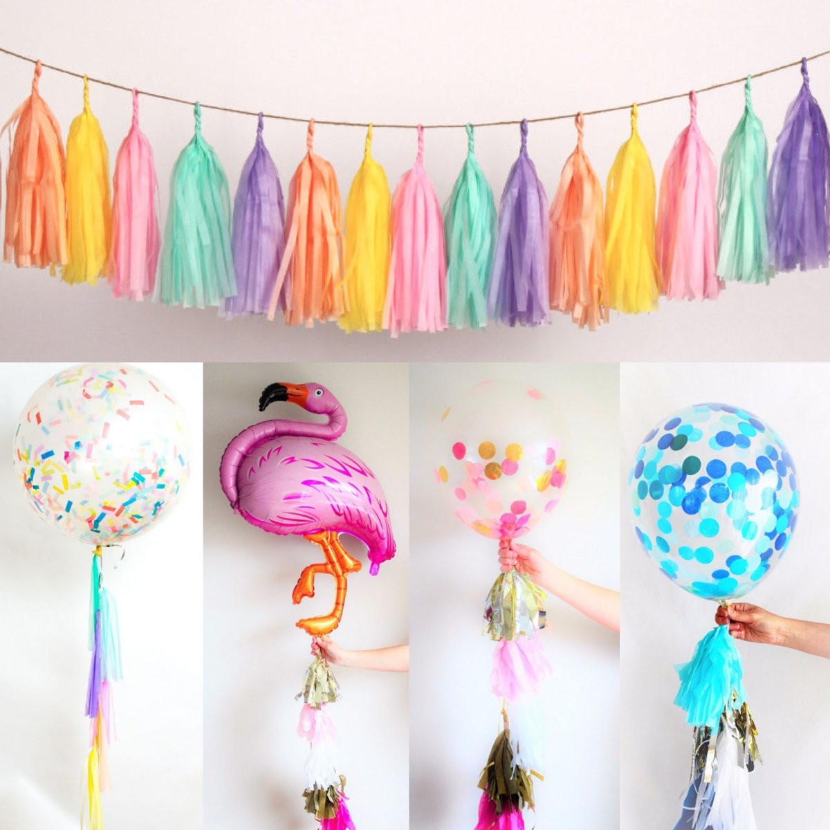 20PCS Tissue Paper Garlands Balloon Wedding Party Tassels Bunting Banner Decor