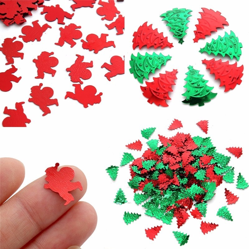 800-1000PCS Mixed Random Green Red Christmas Tree Santa Clause Plastic Confetti Decoration