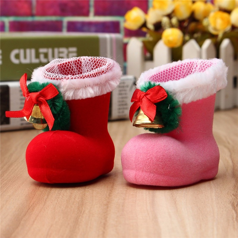 Xmas Santa Boot Shoes Stocking Christmas Tree Decoration Hanging Candy Gift