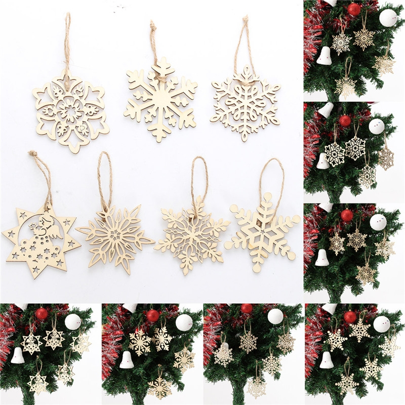 10PCS Wood Snowflake Leaf-Shaped Christmas Tree Hanging Ornament Decoration