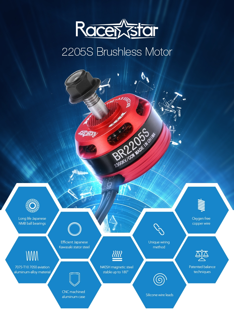Racerstar Racing Edition 2205S BR2205S 2300KV 2-4S Brushless Motor For X210 220 QAV250 FPV Frame