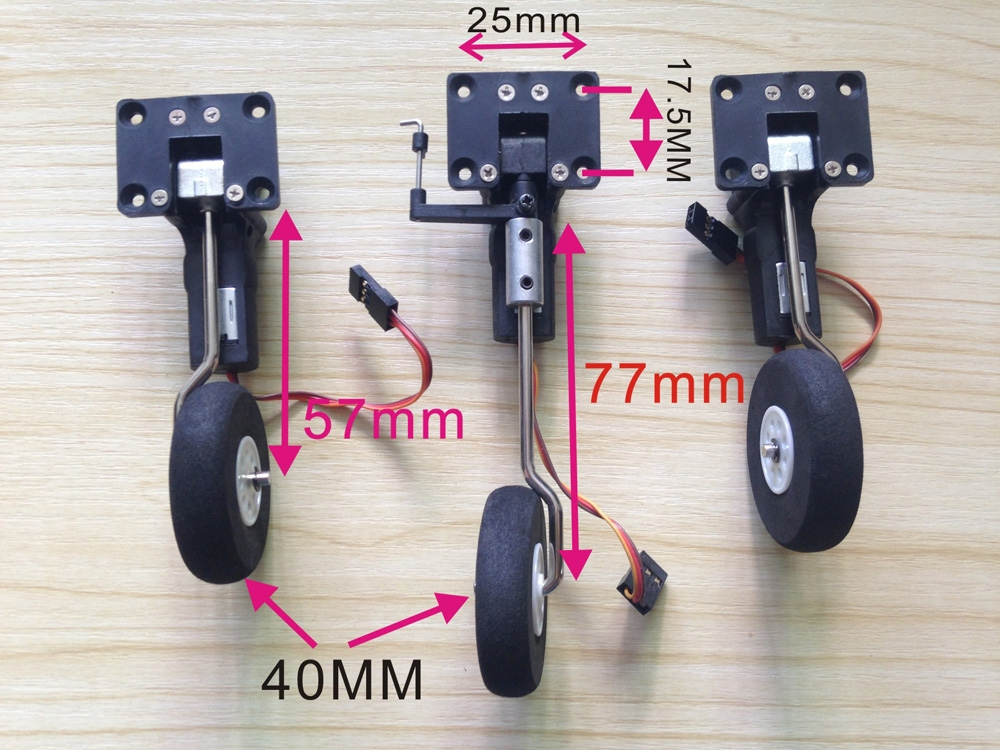 25g Digital Servoless Metal Electronic Retractable Landing Gear With Wheel for RC Airplane
