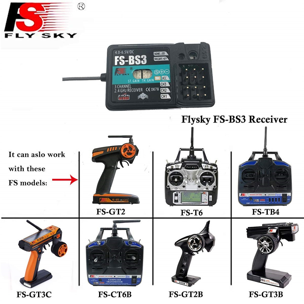 Flysky FS-BS3 Receiver with Stabilization System for FS-GT2 FS-GT2B FS-GT3B RC Transmitter