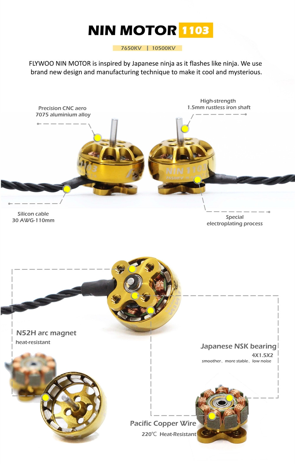 FLYWOO NIN TINY NT1103 1103 7650KV 10500KV 1-3S Brushless Motor for RC Drone FPV Racing