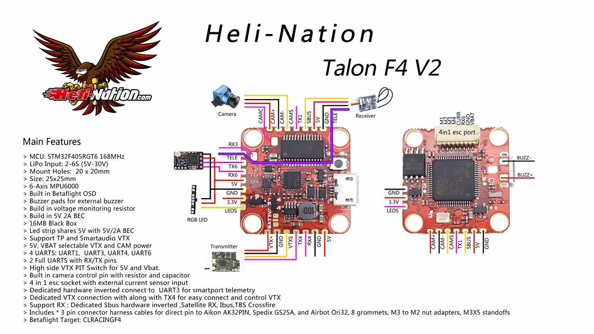 Heli-Nation TA LON F4 V2 20X20 FC Flight Controller VTX Pit Mode 16MB Black Box
