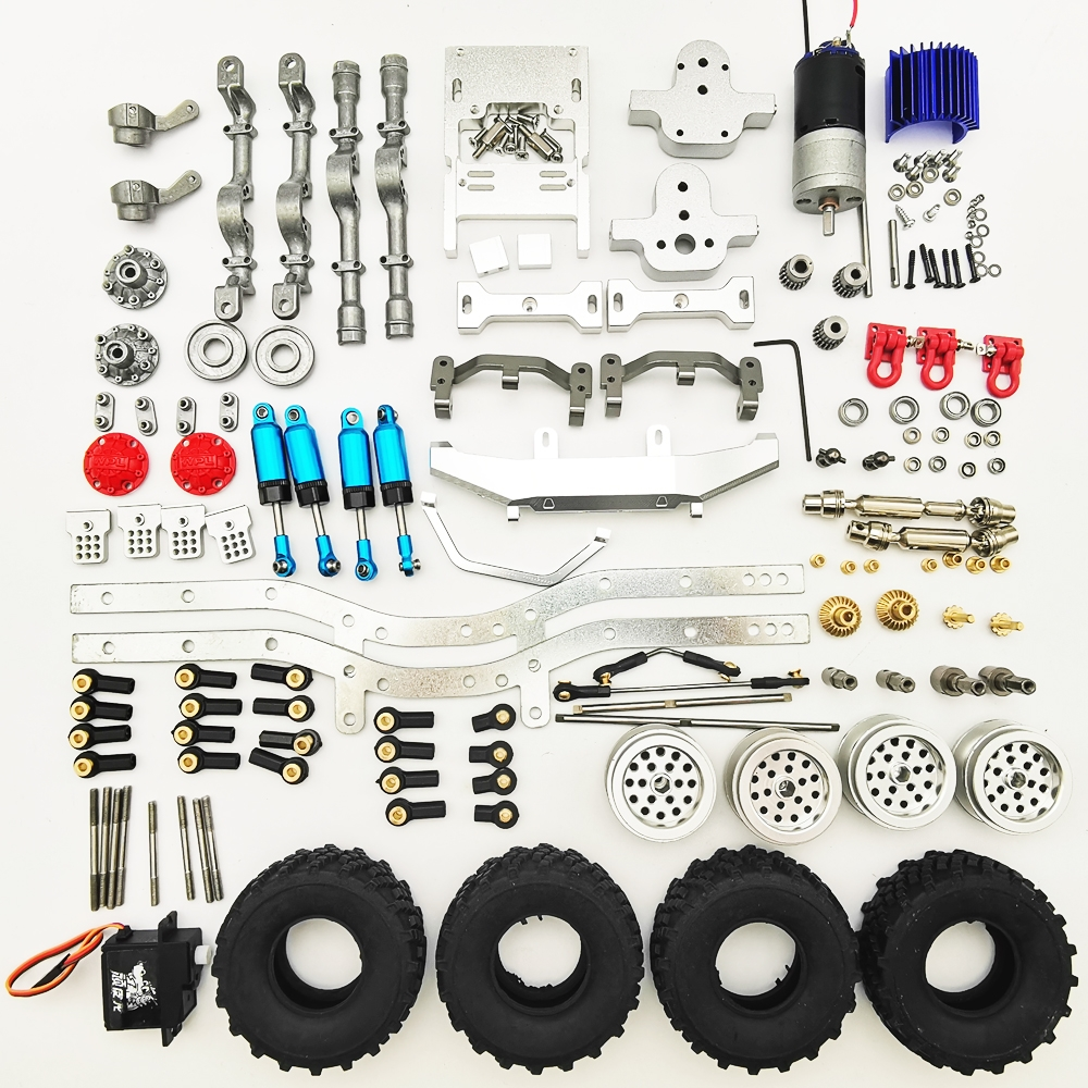 1/10 Upgraded Metal RC Car Chassis Unassembled Kit for Off-Road Truck Vehicles DIY Parts