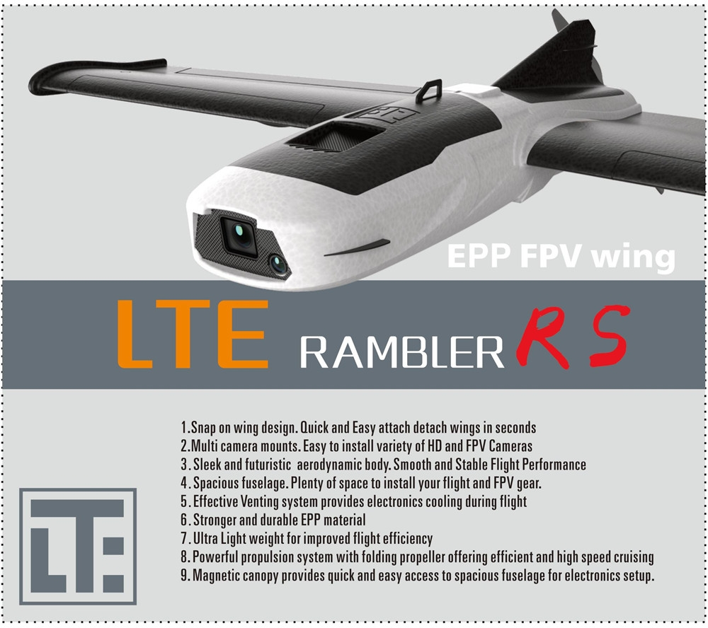LTE Rambler RS EPP 1000mm Wingspan FPV RC Airplane Fixed Wing PNP