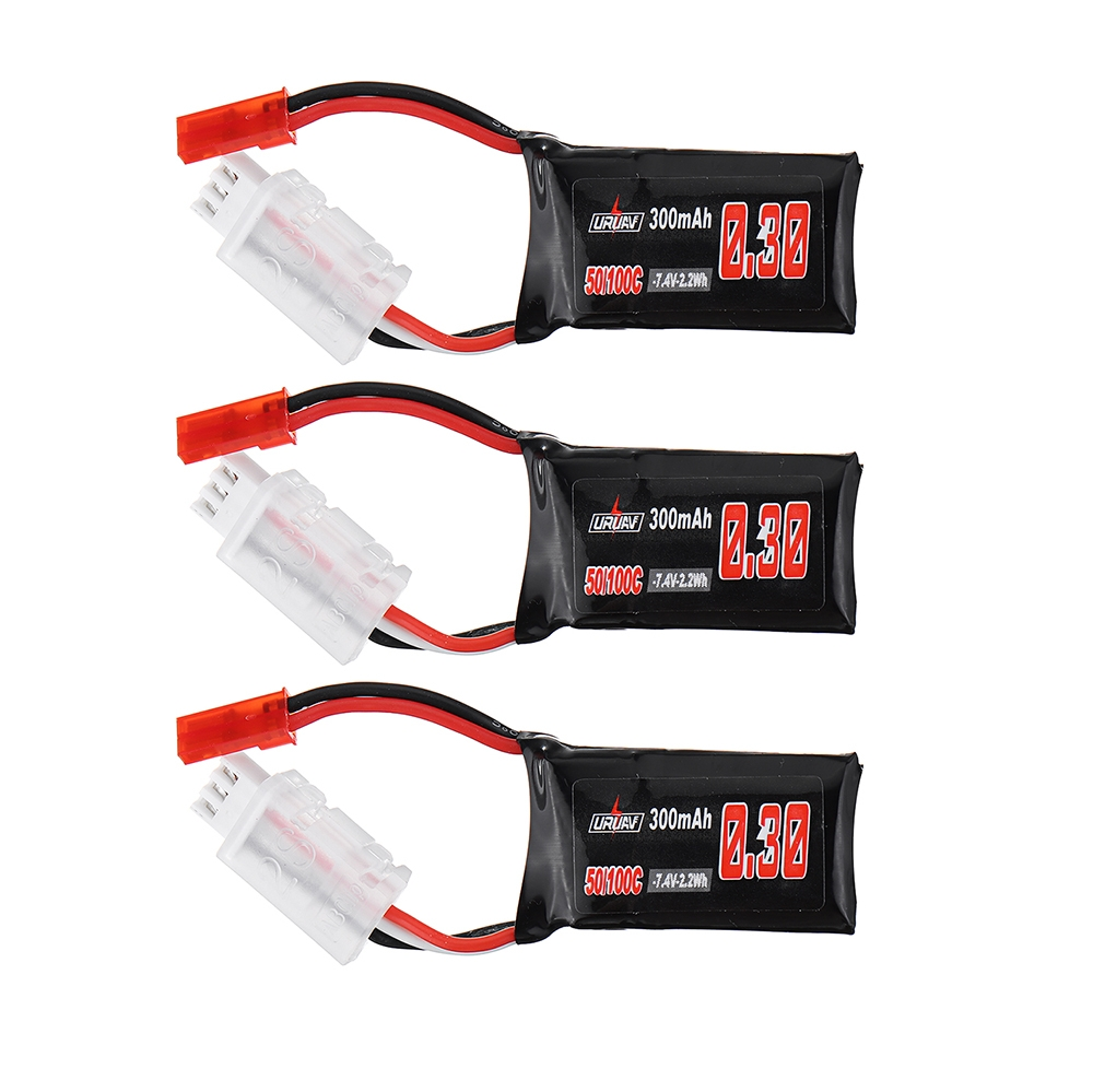 3Pcs URUAV 7.4V 300mAh 50C/100C 2S Lipo Battery JST Plug for RC Mini Drone