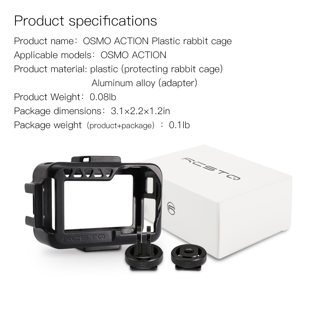 RCSTQ Plastic Camera Cage Protective Case With Aluminum Alloy Adapter For DJI OSMO ACTION FPV Camera