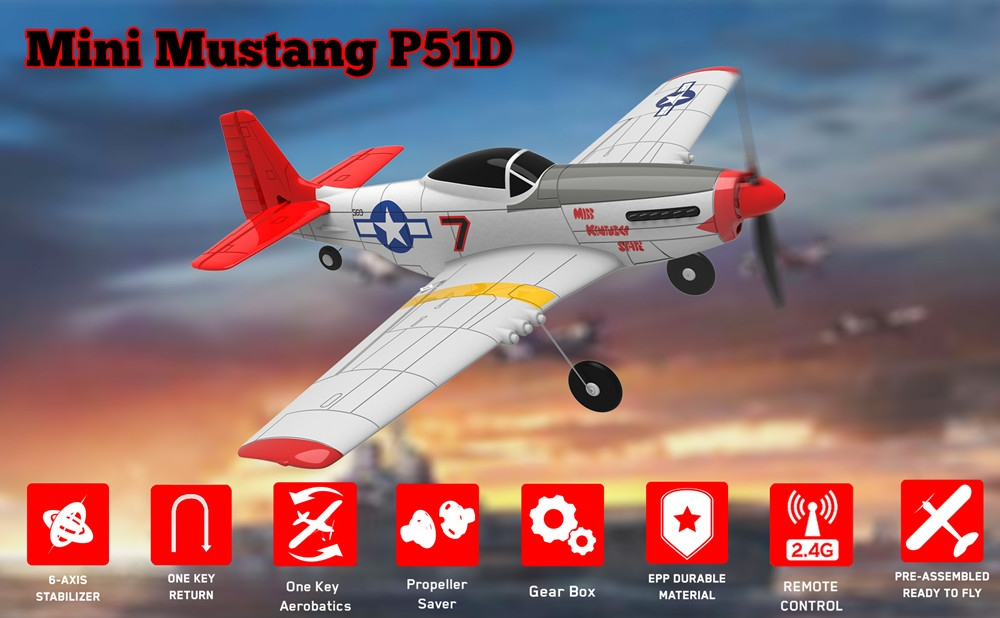 Eachine Mini Mustang P-51D EPP 400mm Wingspan 2.4G 6-Axis Gyro RC Airplane Trainer Fixed Wing RTF One Key Return for Beginner