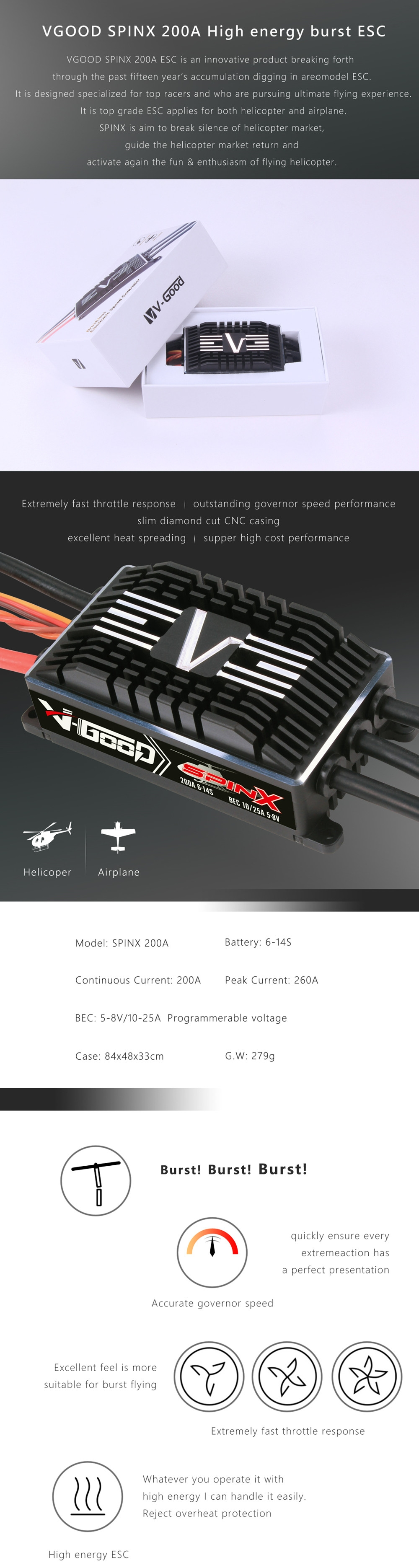 V-GOOD SPINX 200A 5-8V 25A Brushless ESC Support HV 6-14S Lipo Battery For 700 Class RC Helicopter RC Airplane