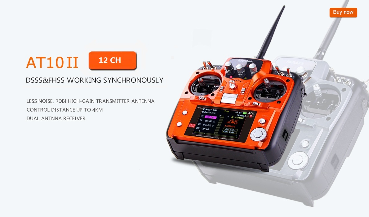 Radiolink AT10II 12CH RC Transmitter and Receiver R12DS 2.4GHz DSSS&FHSS Spread Radio Remote Controller for RC Drone/Fixed Wing/Multicopters/Helicopter
