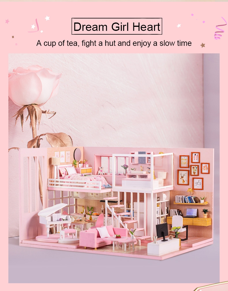 Iiecreate K-047 DIY Assembled Creative Dream Girl Heart Doll House Christmas Gifts Model Toy
