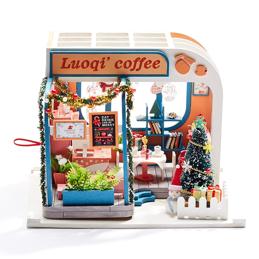 Iiecreate K-046 DIY Assembled Luoqi Coffee Cabin Doll House Christmas Gifts Model Toy