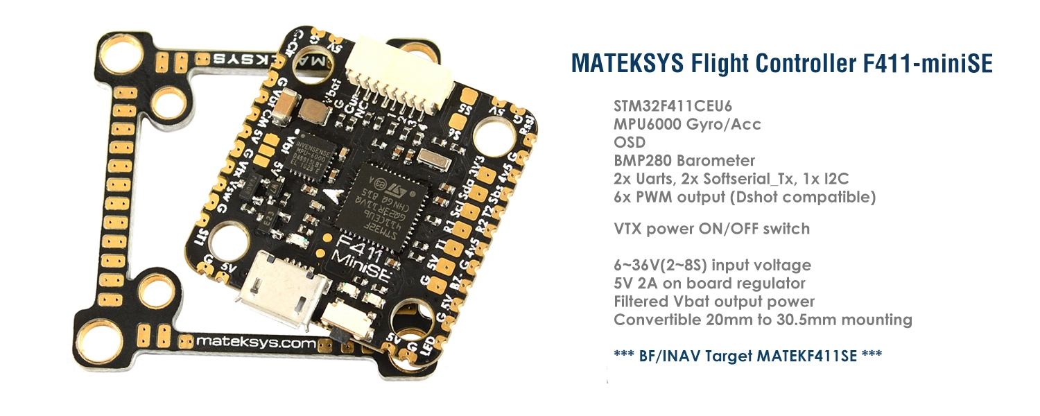 MATEKSYS F411-MINI SE Flight Controller OSD 5V/2A MPU6000 2~8S VTX Powre Switch 30.5mm/20mm for RC Drone