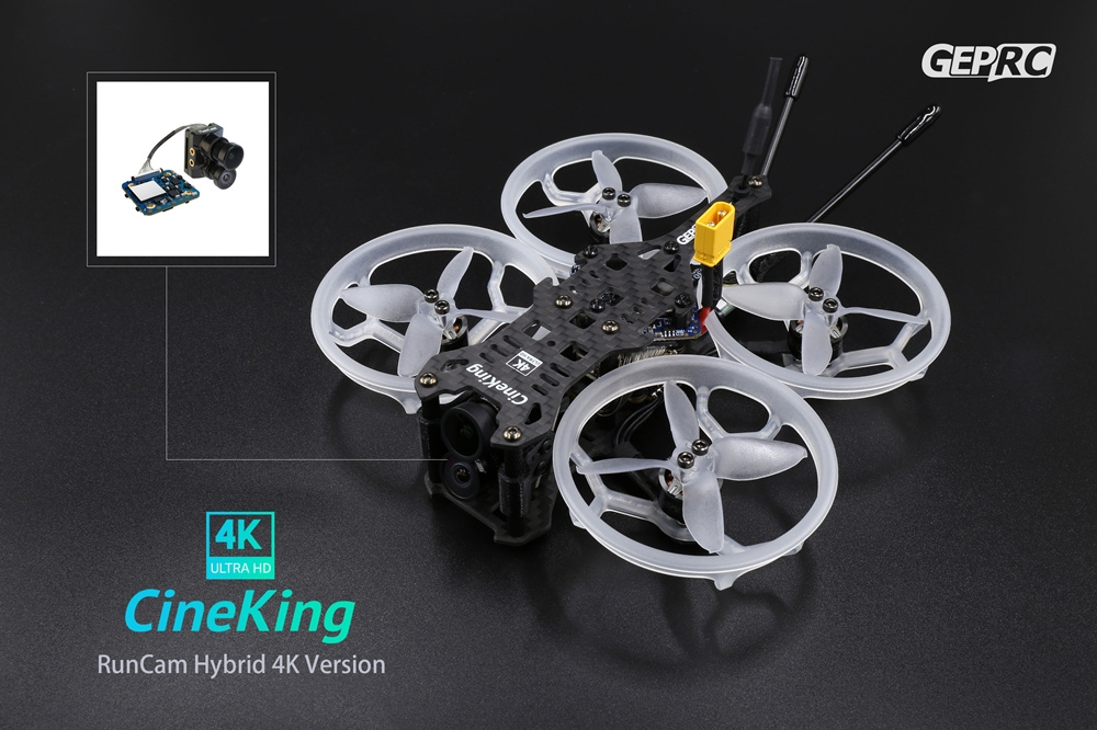 GEPRC CineKing 95mm 4S 2Inch 4K RunCam Hybrid 4K HD FPV Racing RC Drone PNP BNF