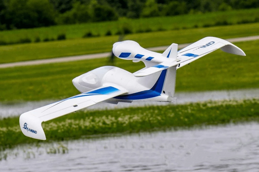 "Dynam Seawind 1220mm (48"") Wingspan EPO Seaplane Blue/Red RC Airplane PNP with Gyro"