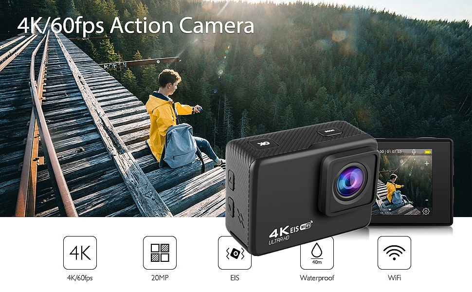 AUSEK AT-Q37C V316 4K 60fps 30fps Mini Waterproof HD Camera Action CAM Support WiFi DVR Time-Lapse Loop for Outdoor FPV RC Drone Travel Photography