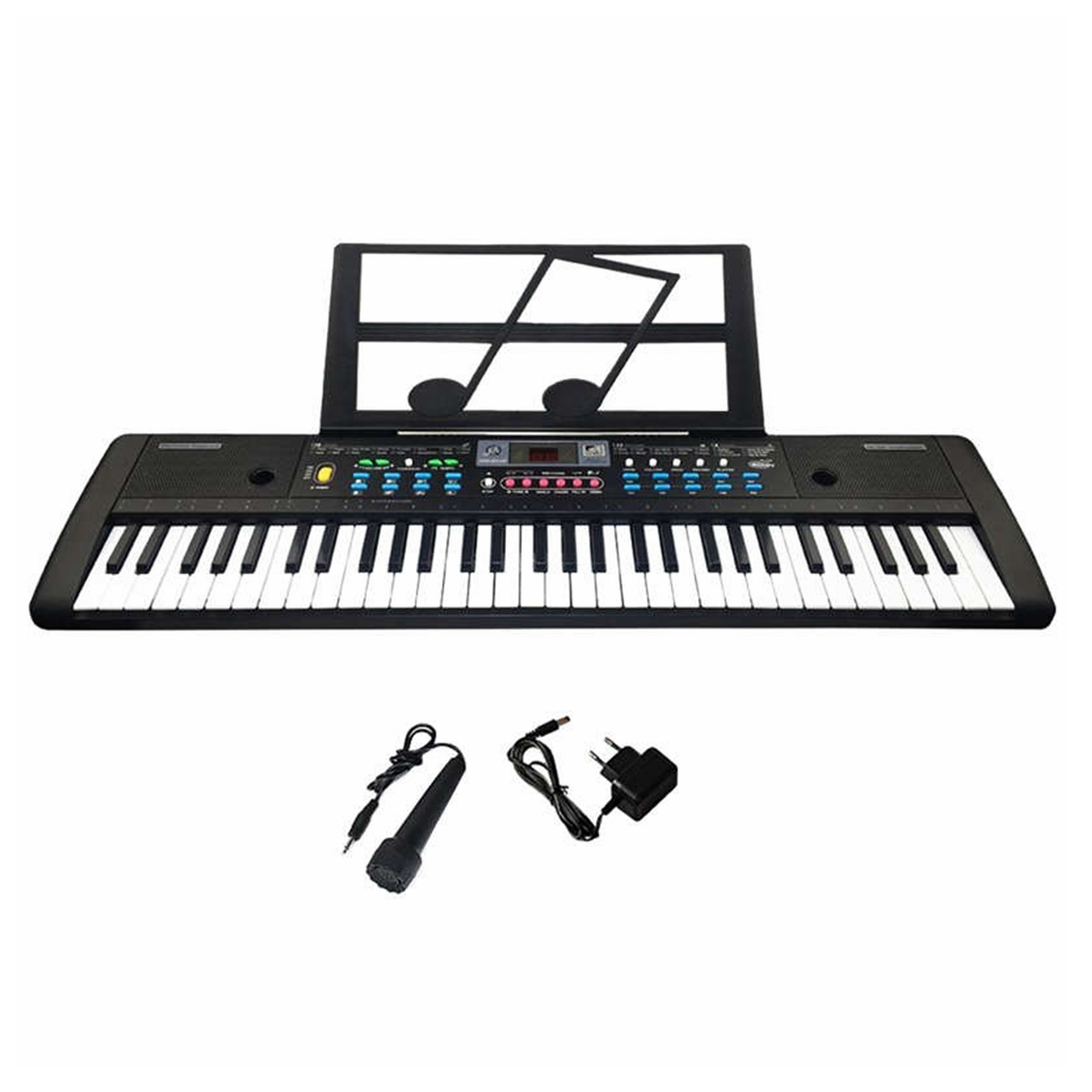 61 Keys Digital Electronic Keyboard Piano Double Horn Stereo Sound with Microphone Music Stand for Children