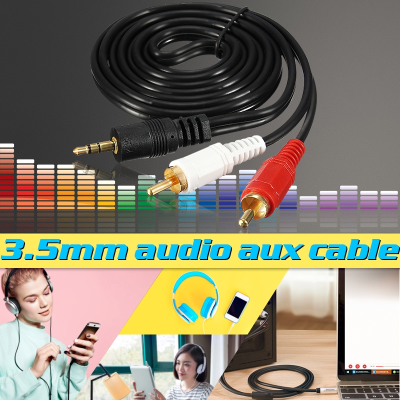Audio Video AV Cable Aux 3.5mm Male Stereo Mini Jack to 2 RCA Speaker for Hi-Fi Video DVD TV CD Player Mini Disc Adapter