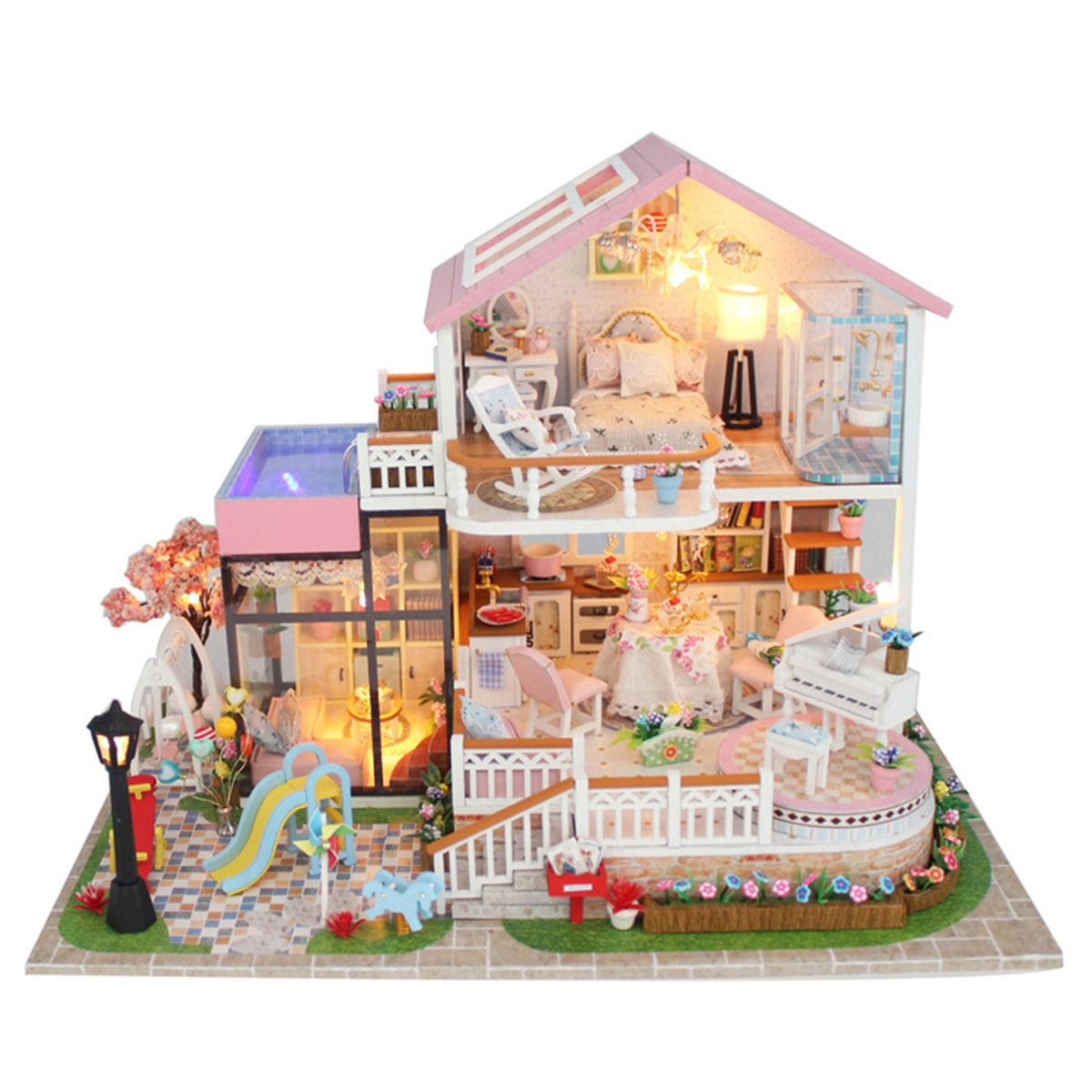 Hongda DIY Cabin Hand-assembled Doll House with LED Light Home Decor Model Toys