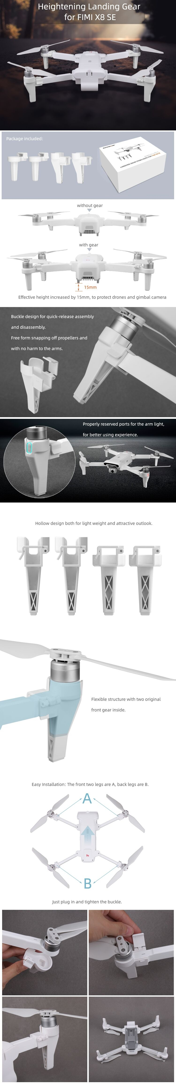 Sunnylife Extended Heighten Landing Gear Gimbal Camera Protector Set for FIMI X8 SE RC Quadcopter