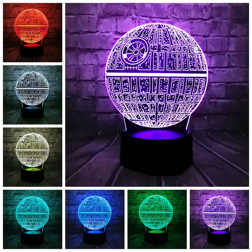 3D LED Table Lamp Death Star Colorful Ball Bulb Atmosphere Decoration Night Lights Novelties Toys for Gifts