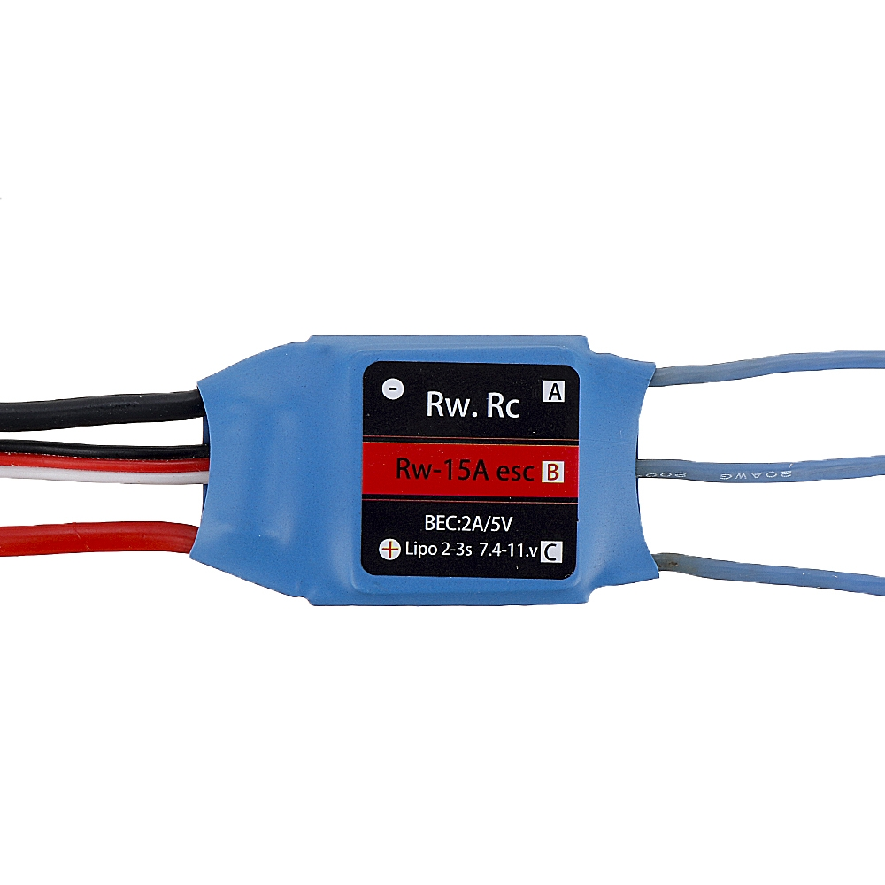 RW.RC 15A Brushless ESC 5V2A BEC 2S 3S for RC Models Fixed Wing Quadcopter Miltirotor