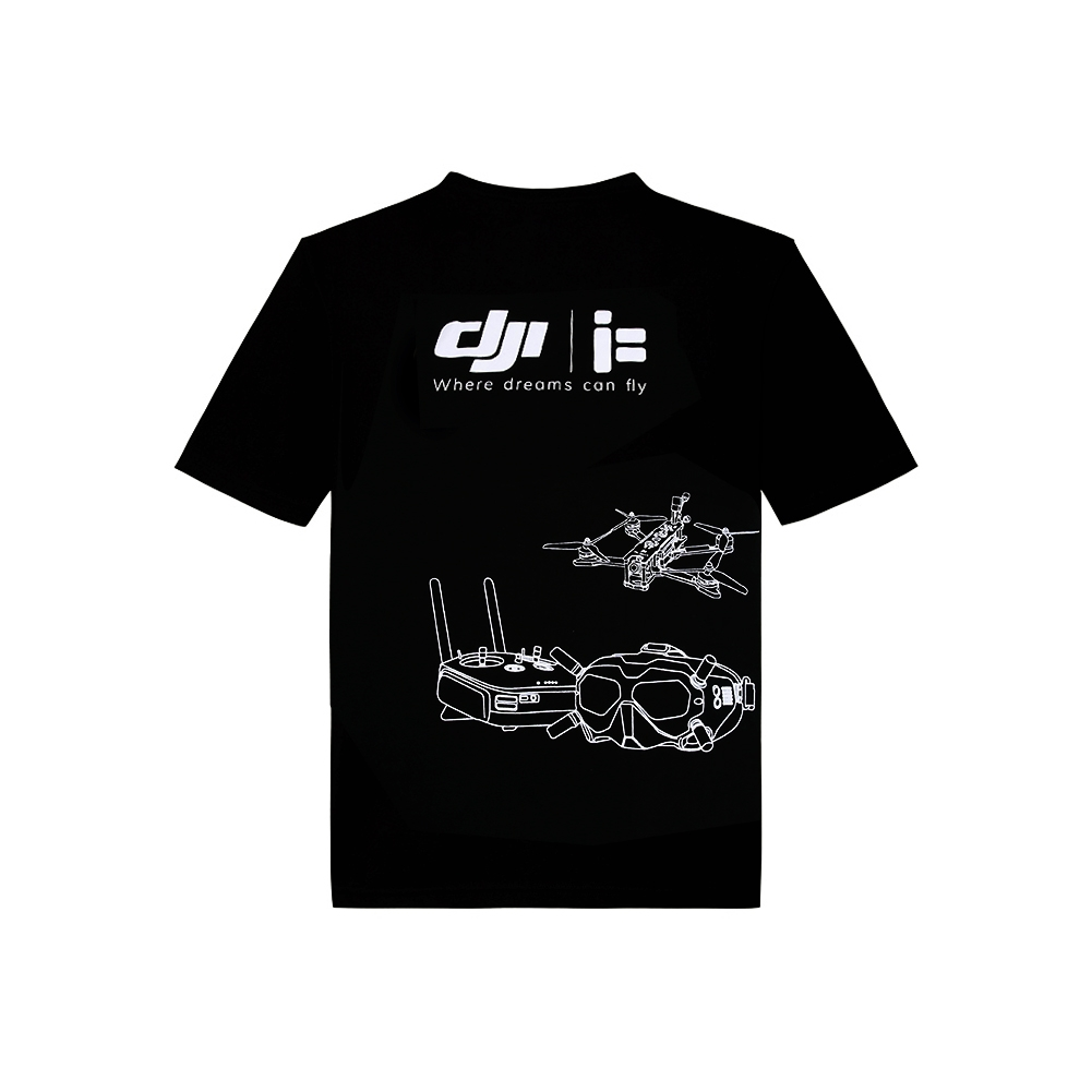 iFlight DJI RC XL Cotton T-Shirts Black Summer Trendy Cotton Breathable Loose Casual