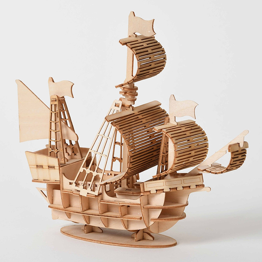 DIY 3D Wooden Handmade Assemble Three-dimensional Marine Sailing Ship Model Building Toy
