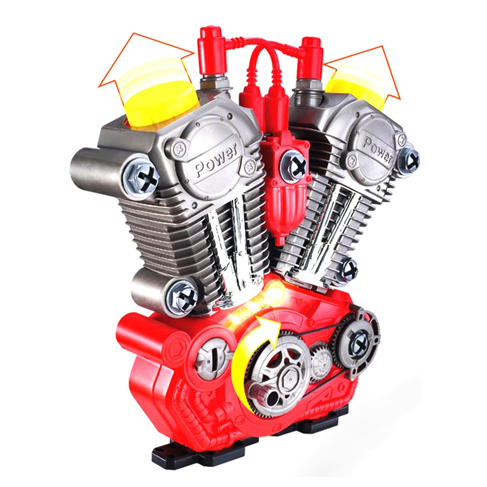 DIY Assembly Simulation Motorcycle Engine Set Model with Light and Music Educational Toy