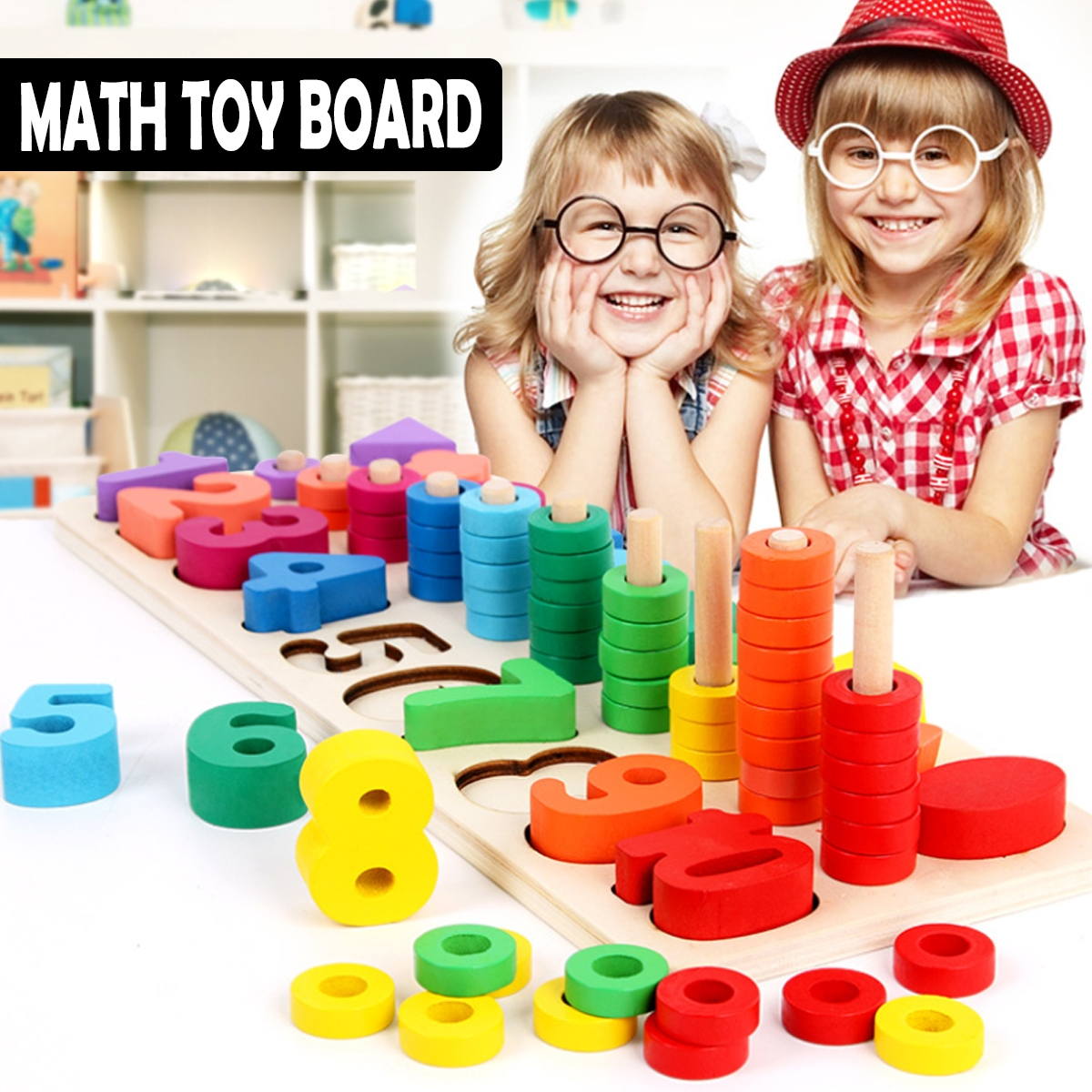 Wooden Math Toy Board Montessori Counting Board Preschool Learning Toys for Children Gifts