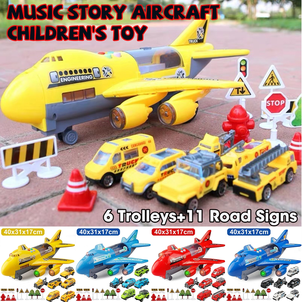 Music Story Simulation Track Inertia Children's Toy Aircraft Large Size Passenger Plane Kids Airliner Toys