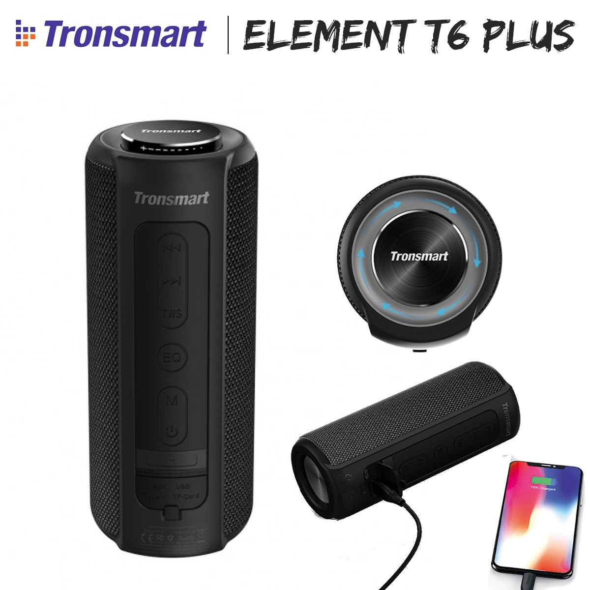 Tronsmart Element T6 Plus 40W IPX6 Bluetooth 5.0 Portable Wireless Speaker