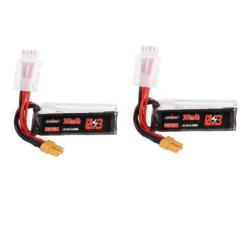 2Pcs URUAV 11.4V 300mAh 80C/160C 3S Lipo Battery XT30 Plug for FPV RC Drone