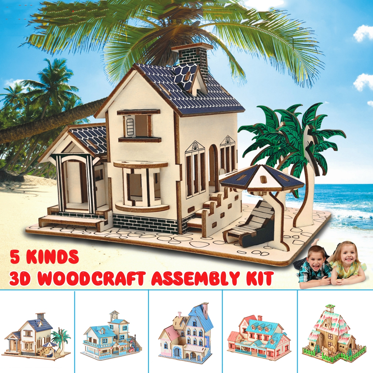 3D Woodcraft Assembly Doll House Kit Decoration Toy Model for Kids Gift