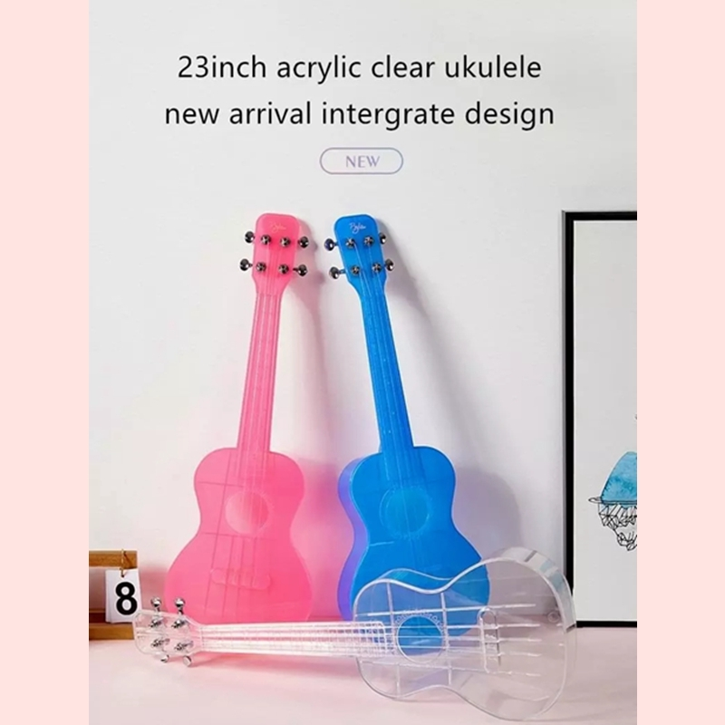 Byla 23 Inch Transparent Acrylic Clear Ukulele Waterproof Integrated Structure Hawaii Ukulele