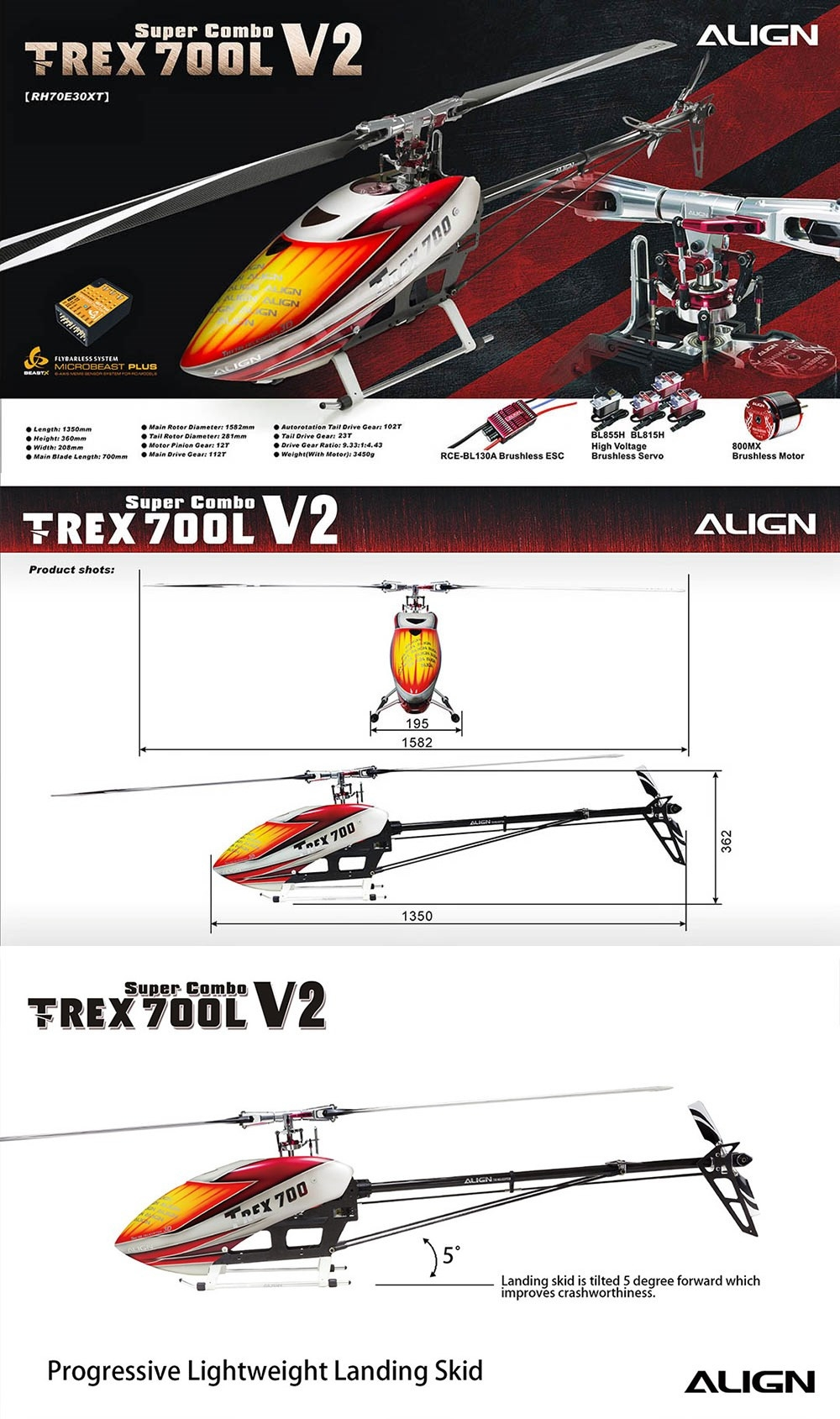 ALIGN T-REX 700L V2 6CH 3D Flying RC Helicopter Super Combo With Brushless 520KV Motor Servo ESC Flybarless System