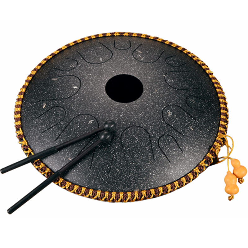 Hluru 14 Inch 14 Tone C Key Ethereal Drum Steel Tongue Percussion Handpan Instrument with Drum Mallets and Bag