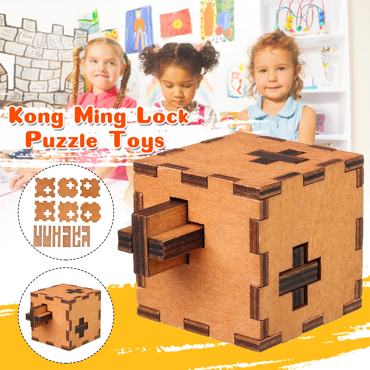 Level 10 Secret Puzzle Box Toy Brain Teaser IQ Test Kong Ming Lock Puzzle Learning Toys for Kids Gift