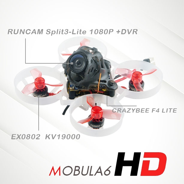 27g Happymodel Mobula6 HD M6 65mm Crazybee F4 Lite 1S Whoop FPV Racing Drone BNF w/ Runcam Split3-lite 1080P HD DVR Camera