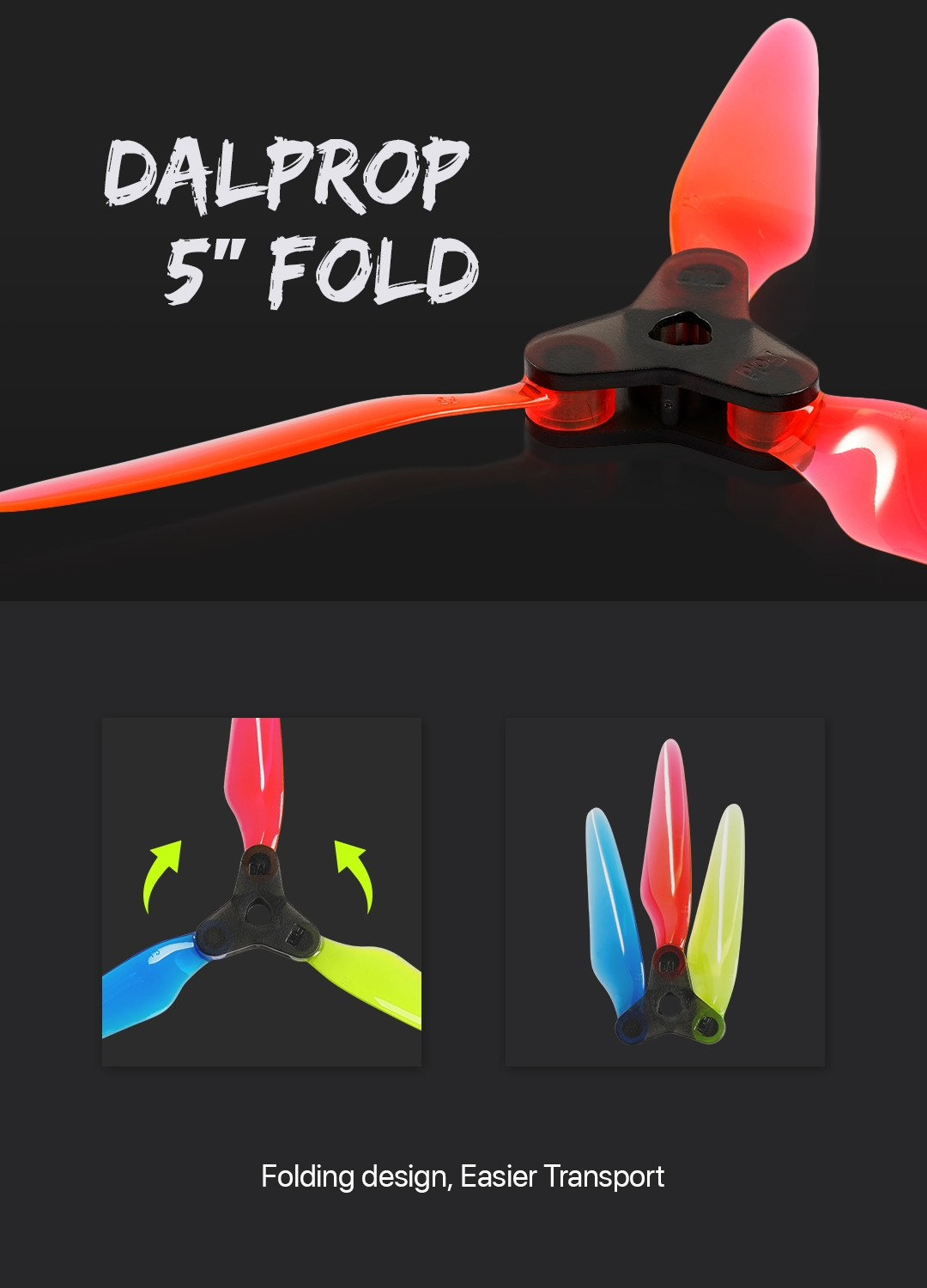 "Dalprop Fold Series 5.1"" Folding Propellers Smooth DIY FPV Prop Compatible POPO for FPV Racing RC Drone"