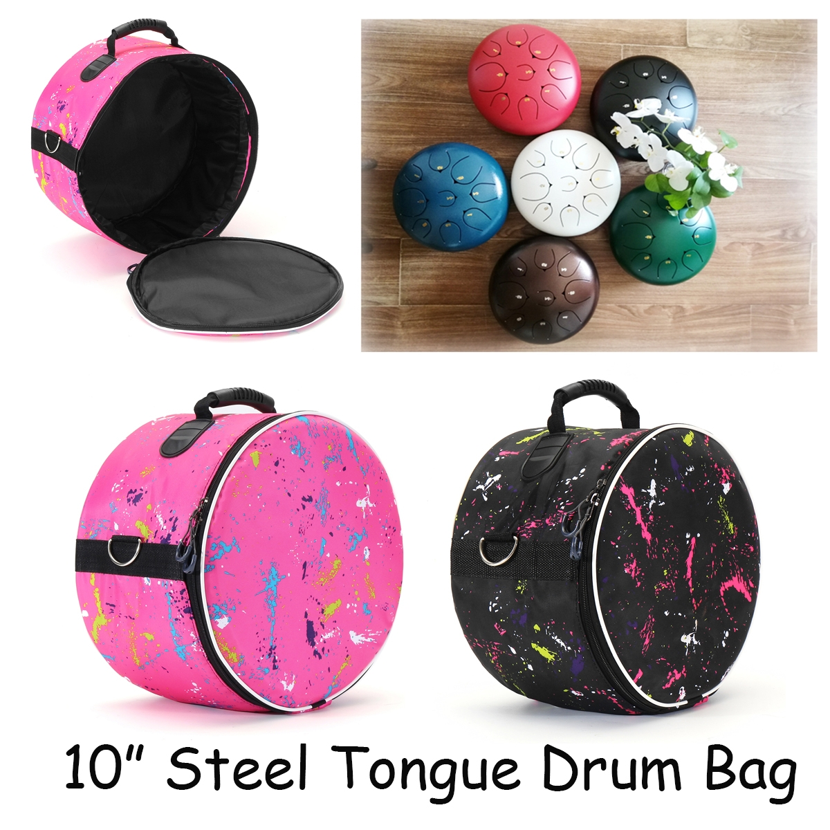 10 Inch Oxford Fabric Steel Tongue Drum Bag Durable Portable Shoulder Bag Handbag